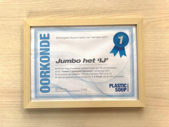 Jumbo Het IJ wint voor de derde keer de Supermarkt Award van de Plastic Soup Foundation