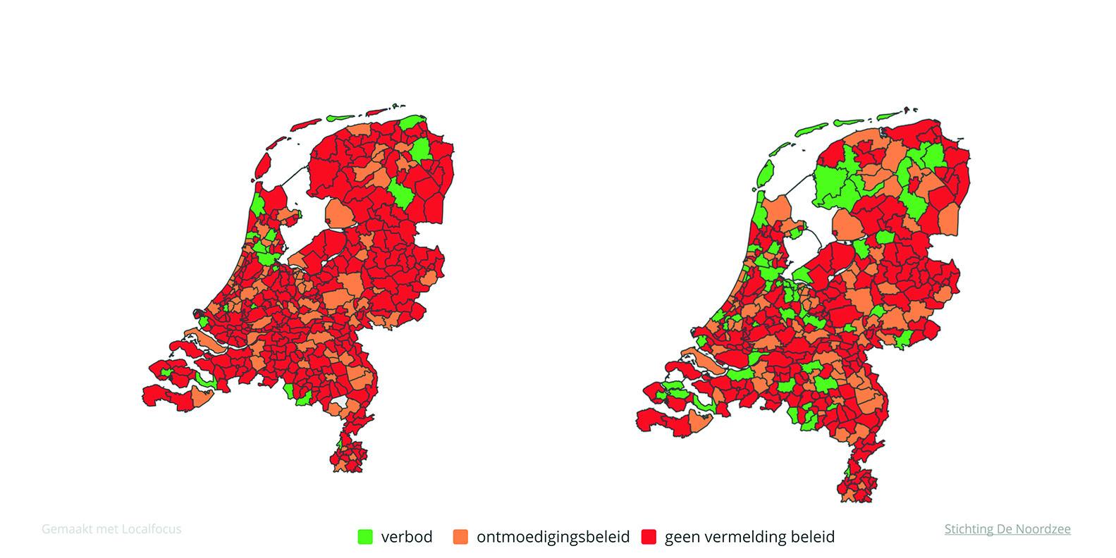 Status landelijke invulling ontmoedigingsbeleid ballonoplatingen in 2018 en in 2019.Bron: Stichting De Noordzee